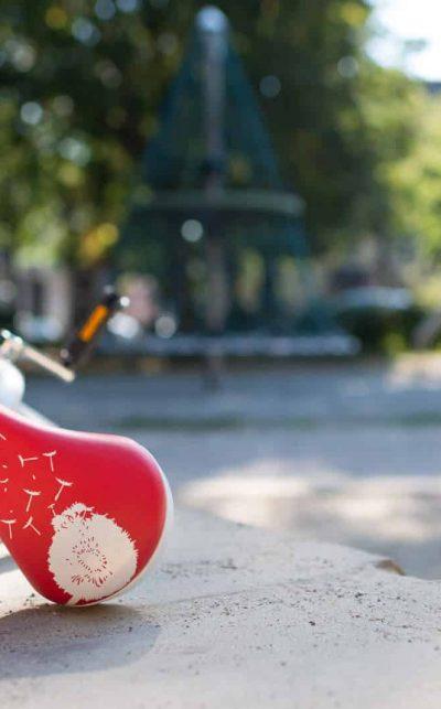 QU-AX child saddle, red dandelion design