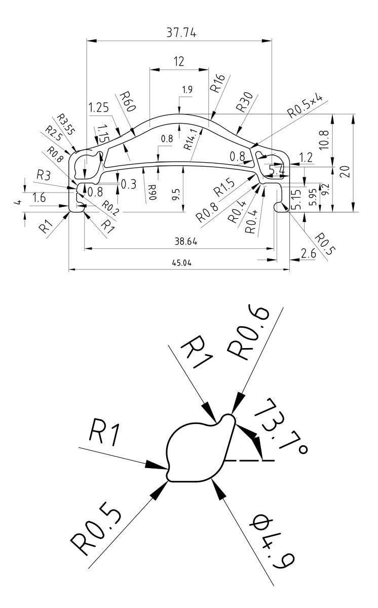 45 mm #rgb unicycle rim profile