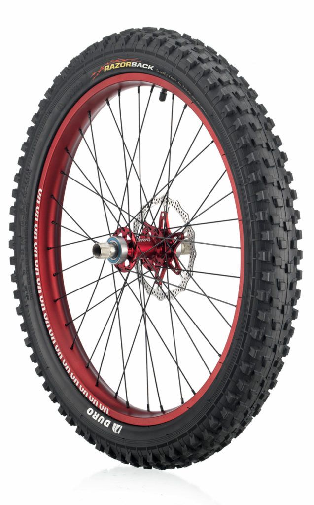"#rgb disc unicycle wheel, red 24"" rim"