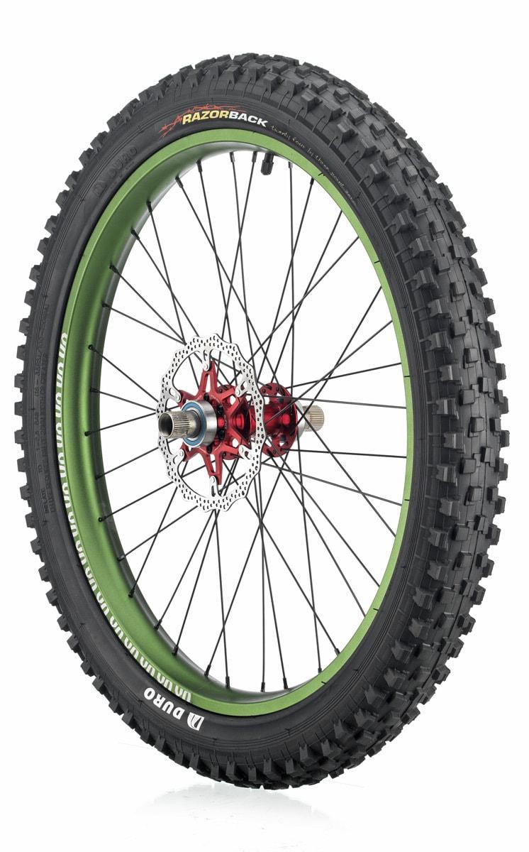 "#rgb disc unicycle wheel, green 24"" rim"
