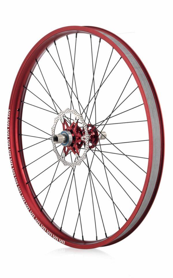 "#rgb disc unicycle wheel, red 27,5"" rim"