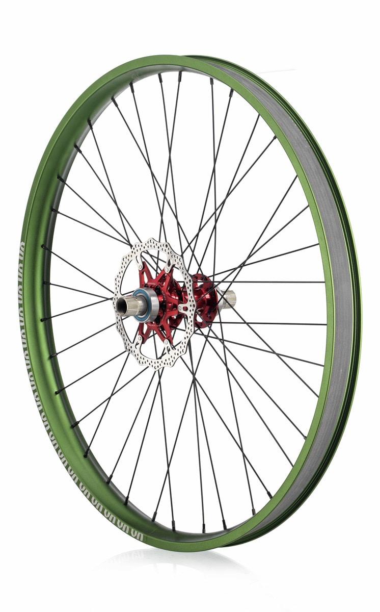 "#rgb disc unicycle wheel, green 27,5"" rim"