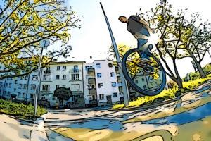 """Cédric Vincent: Street auf einem 36"""" Einrad"""