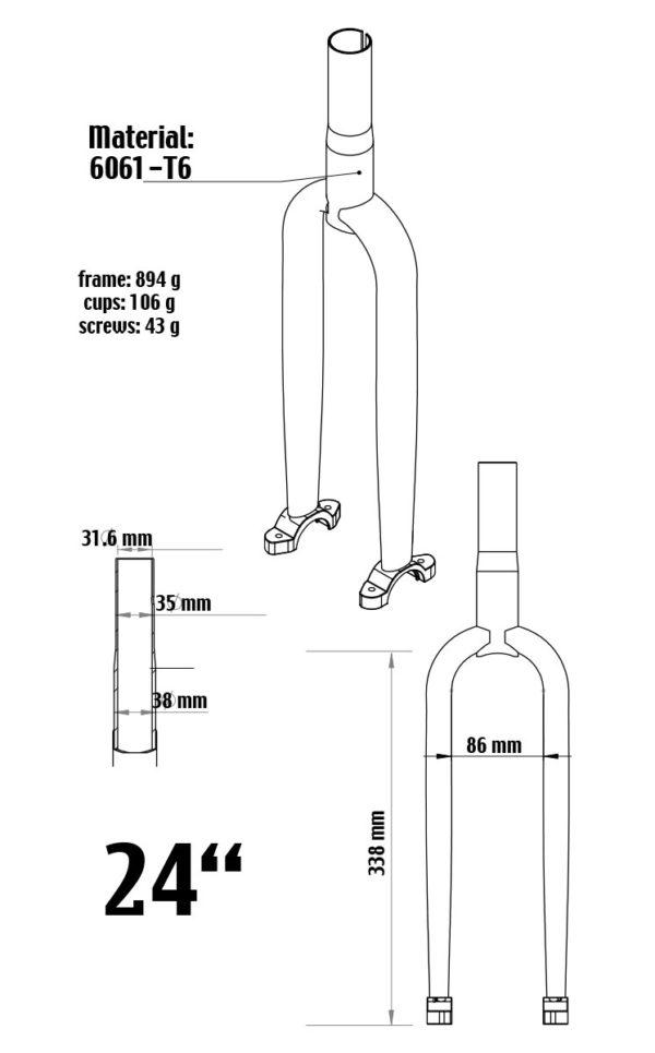 """507 mm (24"""") Muni Einradgabel, Stahl, schwarz"""