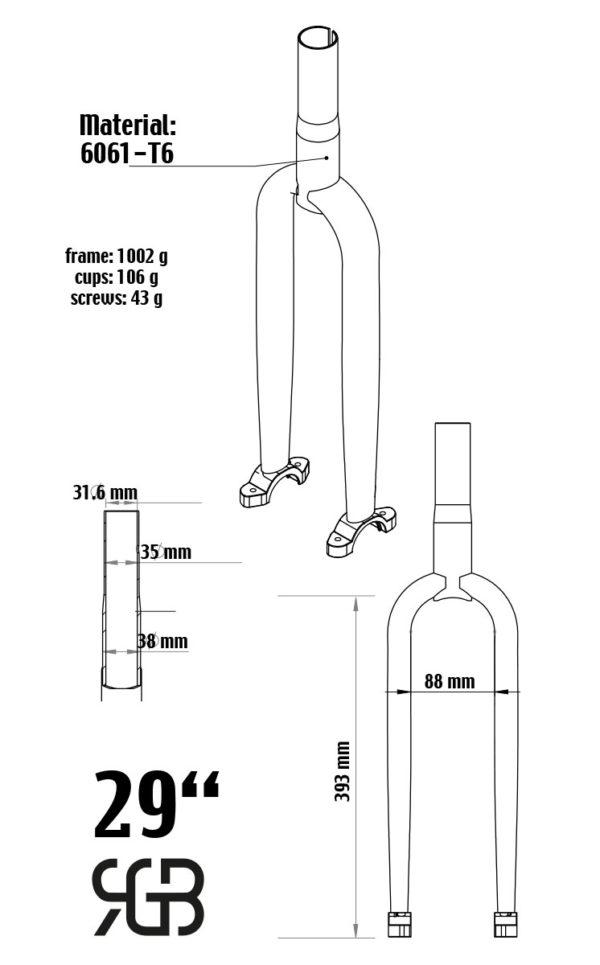 """622 mm (29"""") Muni Einradgabel, Stahl, schwarz"""